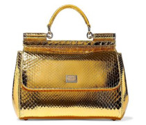 Metallic Python Shoulder Bag Gold Size --