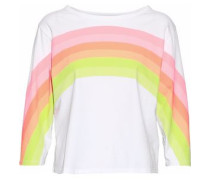 Neon striped cotton-jersey top