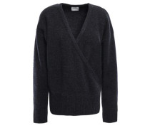 London Wrap-effect Mélange Cashmere Sweater Midnight Blue