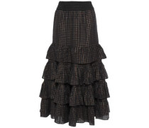 Suffragette Tiered Metallic-trimmed Checked Cotton-blend Midi Skirt Black