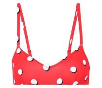 The Rachel Polka-dot Bikini Top Tomato Red