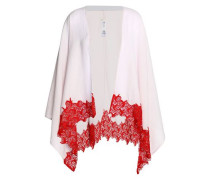 Lace-trimmed cotton-blend cape
