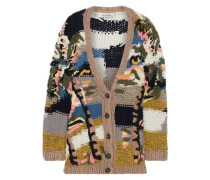 Embroidered wool, cashmere and silk-blend cardigan