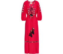 Embroidered Silk Crepe De Chine Maxi Dress Red