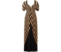Pleated Metallic Chiffon Maxi Dress Black