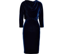 Draped Velvet Dress Navy