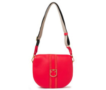 Woman Gioia S Suede-trimmed Pebbled-leather Shoulder Bag Red