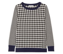 Gingham Silk And Wool-blend Sweater Black