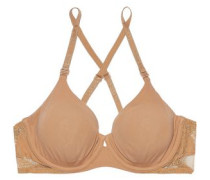Lace-trimmed stretch-jersey underwired bra