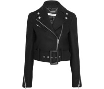 Cropped biker jacket in black wool-blend felt
