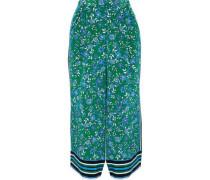 Floral-print Silk Culottes Green