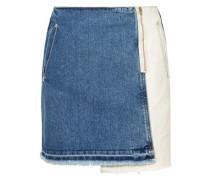 Wrap-effect Two-tone Denim Mini Skirt Mid Denim