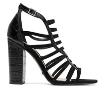 Kaye croc-effect leather and nubuck sandals