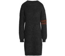 Metallic-trimmed Mélange Ribbed-knit Dress Charcoal
