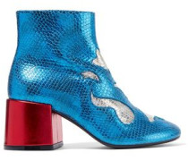 Metallic snake-effect leather ankle boots