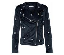Studded Velvet Biker Jacket Midnight Blue