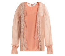 Tulle and lace-trimmed paneled silk-crepe top