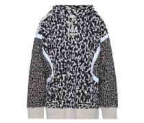 Embroidered Printed Cotton-blend Hooded Jacket Beige