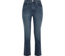 Cropped Faded High-rise Straight-leg Jeans Dark Denim  4