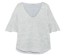 Striped Linen And Cotton-blend Jacquard T-shirt Off-white