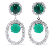 Silver-tone, Stone And Crystal Clip Earrings Emerald Size --