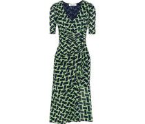 Farrell Wrap-effect Printed Stretch-mesh Dress Bright Green