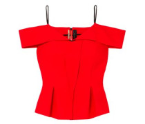 Stotford Cold-shoulder Wool-crepe Peplum Top Red Size 16