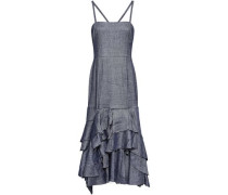 Tiered Ruffled Linen-blend Midi Dress Indigo
