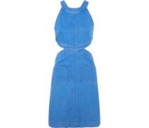Cutout stretch-denim dress