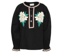 Zahid Embroidered Cotton-gauze Blouse Black