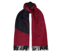 Fringe-trimmed Wool-jacquard Scarf Midnight Blue Size --