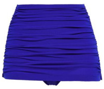 Bill Layered Ruched High-rise Bikini Briefs Bright Blue