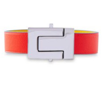 Woman Silver-tone Leather Bracelet Tomato Red