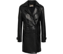 Double-breasted Leather Coat Black