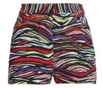 Printed cotton-blend crochet-knit shorts