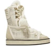 Kira Suede, Faux Shearling And Metallic Tweed Snow Boots Ecru