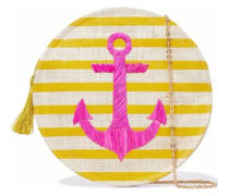Embroidered striped straw shoulder bag