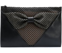 Bow-embellished Paneled Mesh And Leather Clutch Black Size --