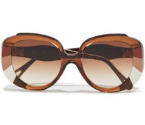Woman Butterfly-frame Printed Acetate Sunglasses Light Brown