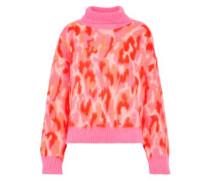 Lalli Brushed Jacquard-knit Turtleneck Sweater Bubblegum