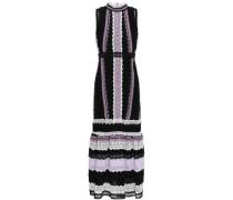Gathered Cotton And Silk-blend Guipure Lace Midi Dress Black
