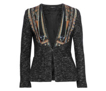 Jacquard-paneled Marled Wool And Cotton-blend Jacket Black