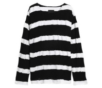 Distressed striped cotton sweater