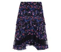 Woman Ruffled Floral-print Crinkled Silk-chiffon Skirt Black