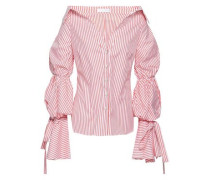 Tie-detailed Striped Cotton-poplin Shirt Coral