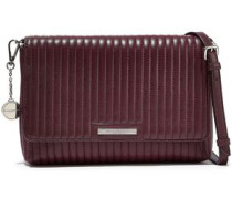 Quilted Leather Shoulder Bag Plum Size --