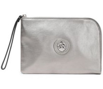 Embellished Leather Pouch Silver Size --