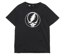Woman Distressed Printed Cotton-jersey T-shirt Black
