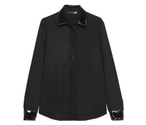 Faux patent leather-trimmed crepe shirt