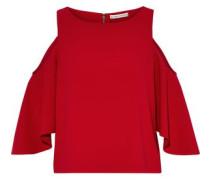 Cold-shoulder crepe top